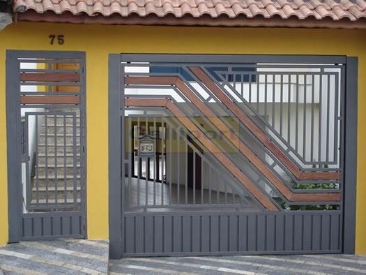 Portão Tubular Com Madeira ATM-12